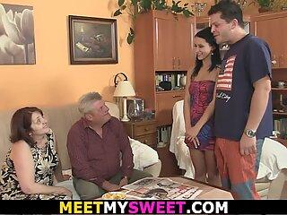 His doll seduced by grandma and elderly daddy