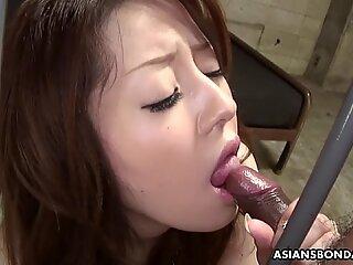 Captiv Asiatic Adolescent Ria Sakurai Deep Gât polițiști Hard Păr Pula
