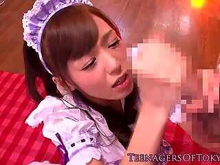 Jap waitress in cocksucking group fantasy