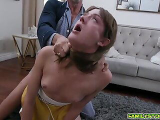 Horny old man gets sweaty as he strokes his dick inside Zoe Sparx yummy coochie