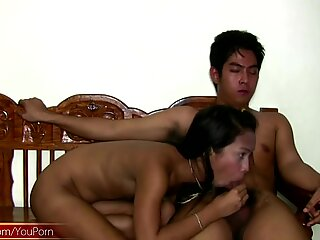 Filipino tgirl swings her small cock while getting assfucked