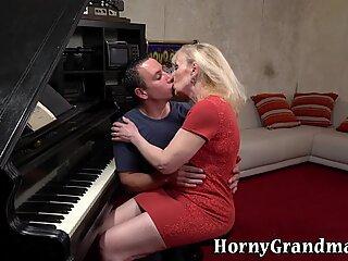Granny piano teacher riding dick