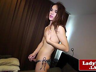 Asian tgirl beauty jerksoff massive cumload