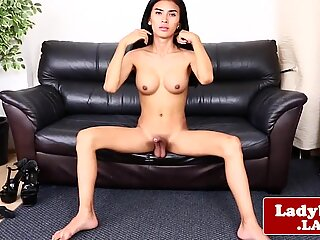 Busty ladyboy jerking off and teasing