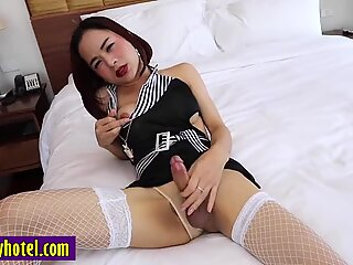Asian tranny in lingerie sucks a clients big white cock