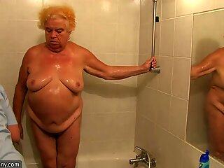 OldNanny Chubby granny masturbation, Nice threesome