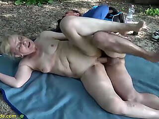 85 years old mom first public beach sex